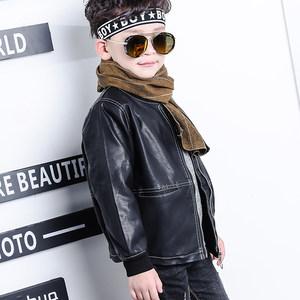 韩版冬季男童<span class=H>夹克</span>皮衣外套拉链长袖拼接休闲百搭潮流文艺清新童装