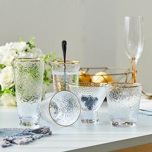 日式高档锤目纹玻璃杯透明金边水杯