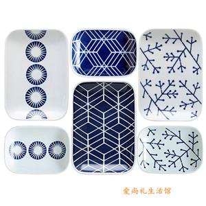 日本进口 日式几何图案陶瓷器<span class=H>餐具</span>6件套装礼盒 厨房用具日<span class=H>用品</span>