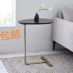 创意边几北欧简约椭圆小<span class=H>茶几</span>铁艺沙发角几移动实木客厅床头阅读桌