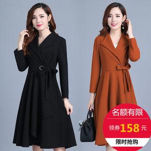 风衣女中长款韩版春季2018新款修身大码显瘦系带收腰春秋裙摆外套