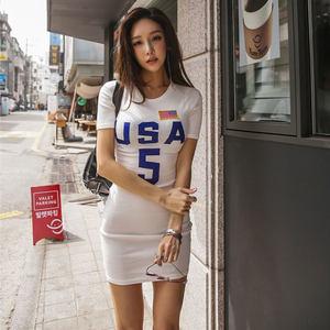 韩国2019夏季新款修身字母短袖包臀T恤短裙休闲高腰紧身<span class=H>连衣裙</span>女