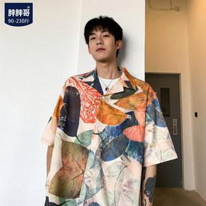 寸衫2019夏季印花短袖<span class=H>衬衫</span>男士加肥大码情侣外套韩版潮流胖子衬衣