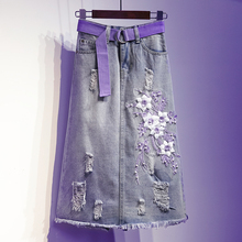 European Station Spring and Autumn 200 kilograms of pierced purple embroidered three-dimensional flowers in the long jeans skirt half-length skirt