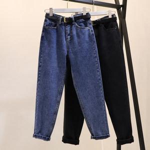 宽松老爹裤女<span class=H>牛仔裤</span>2019春季韩版高腰显瘦哈伦裤萝卜裤复古九分裤