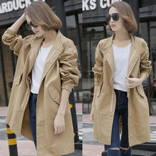 Early Spring and Autumn Mid-long Windswear Female Korean Edition Student's Loose Ins Leisure Coat BF Overcoat