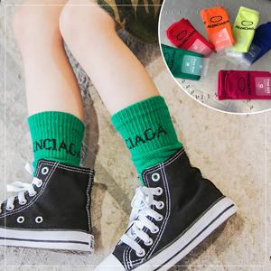 【潮妞】2018秋季六色字母中筒袜女童针织堆堆袜儿童宝宝堆堆<span class=H>袜子</span>