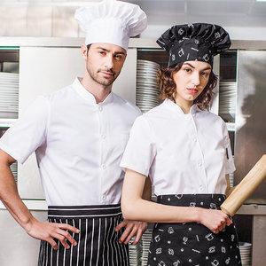 厨师<span class=H>工作服</span>夏季短袖透气男女酒店饭店后厨房薄款白色西餐厅厨师服