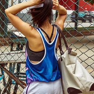 小溪家女子宽松跑步速干运动罩衫透气<span class=H>背心</span>休闲训练户外健身衣服夏