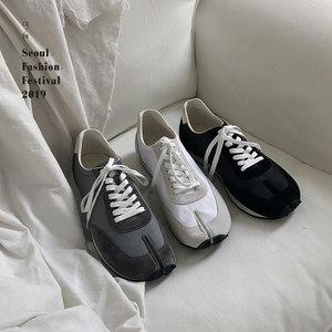 @韩桥~19猪蹄马蹄分趾鞋拼色反绒皮真皮低帮休闲鞋<span class=H>慢跑鞋</span>男士板鞋