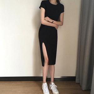 新款<span class=H>简约</span>气质<span class=H>小</span><span class=H>黑裙</span>女韩版修身显瘦中长款侧开叉短袖连衣裙打底裙