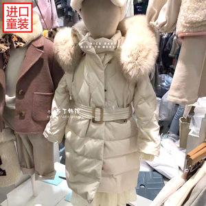 现货韩国童装 女童冬装2018冬季儿童白色中长款<span class=H>羽绒服</span>W33毛领上衣