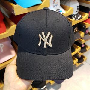 【韩国六月新品】MLB新品洋基队男女款<span class=H>棒球帽</span>小标可调节黑色金标