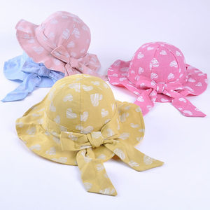 儿童<span class=H>帽子</span>春秋薄款女童渔夫帽2-3岁宝宝公主遮阳盆帽爱心大蝴蝶结