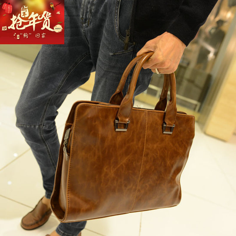 2018 new style of man's handbags revive old customs crazy Ma Pi recreational tide men and women to wrap a business to wrap list the shoulder is inclined to across a briefcase - intl