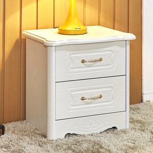 欧式床头柜简约现代象牙白色韩式边柜储物卧室二斗柜边角柜储物柜