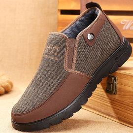 一脚蹬高帮冬季老头棉鞋男棉布鞋老爷爷鞋子中老年加绒棉鞋保暖鞋