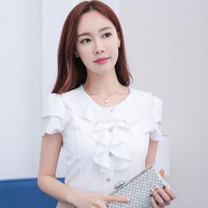 夏季韩版修身白色衬衫女短袖雪纺衫飞飞袖 职业装荷叶花边<span class=H>上衣</span>