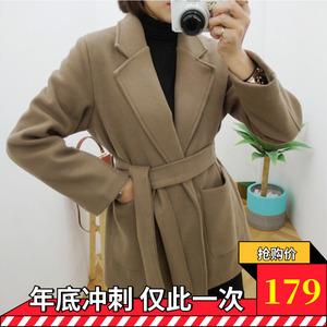 毛呢外套<span class=H>女装</span>短款矮个子气质收腰系腰带显高显瘦百搭气场韩版潮流