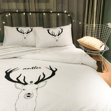 Chic Korean simple cotton four piece set pure white elk, Nordic style feature home stay cotton home textile bed