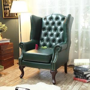 美式复古高背单人沙发 咖啡厅售楼部酒店接待老虎椅 欧式真皮沙发