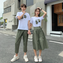 Different Temperament Couple Summer Dresses Design Sensitive Trousers Short Sleeve T-shirt Two-piece Suit for Men and Women