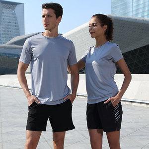 中健跑步<span class=H>运动</span><span class=H>服装</span>男士健身短袖<span class=H>T恤</span><span class=H>休闲</span>装速干五分短裤女夏季套装