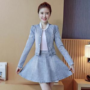 2019春秋季新款女装长袖牛仔连衣裙时尚裙子夏季套装裙两件套潮