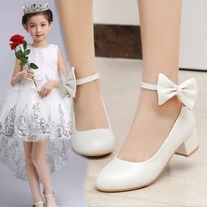 女童8-15岁中大童公主鞋白色儿童皮鞋小女孩学生表演出黑色<span class=H>高跟鞋</span>