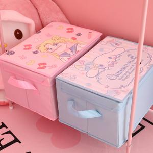 少女心大容量可折叠收纳箱有盖衣服储物箱家用宿舍布艺收纳整理盒