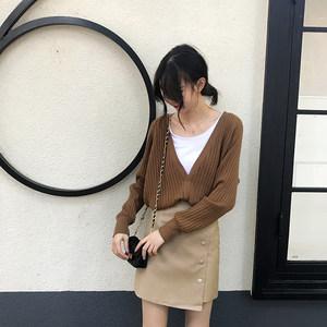 短款坑条大V领长袖针织开衫女春季韩版chic纯色宽松外套<span class=H>毛衣</span>上衣