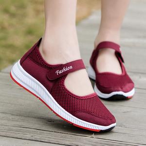 春夏新款中老年健步鞋女网鞋老北京布鞋妈妈鞋老人运动鞋子女凉鞋
