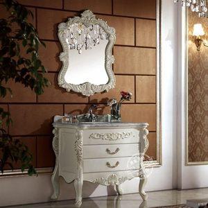 皇家卫浴工厂直销欧式描金浴室柜组合落地仿古美式橡木洗手盆8891