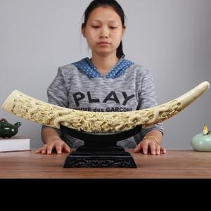 仿真中式象牙艺术摆件创意家庭客厅办公室玄关电视柜博古架装饰品