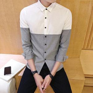 秋季新款男士时尚牛津纺长袖<span class=H>衬衫</span>韩版修身型拼接撞色青年帅气衣服