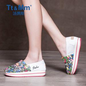 Tt&amp;Mm/汤姆斯<span class=H>女</span>鞋春季<span class=H>个性</span>涂鸦帆<span class=H>布鞋</span><span class=H>女</span>摇摇厚底懒人鞋 松糕<span class=H>布鞋</span>
