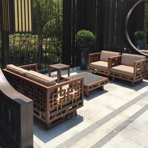 户外中式家具实木组合<span class=H>沙发</span>五件套单人双人防腐木万字格花岗岩茶几