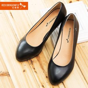 红蜻蜓<span class=H>女鞋</span>春秋真皮正品圆头软皮中跟粗跟职业女单鞋黑色工作<span class=H>鞋子</span>