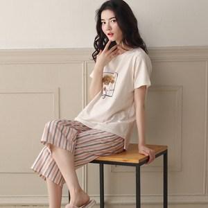 睡衣女士夏季纯棉短袖七分裤韩版清新宽松休闲夏天中裤家居服套装