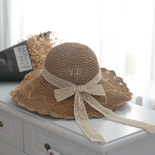 Japanese lace bow three-dimensional Crochet Hat foldable brim hat female spring and summer beach shade hat