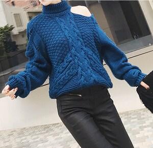 YUMI2018冬季新款纯色单肩破洞高领<span class=H>毛衣</span>女套头韩版针织衫女装上衣