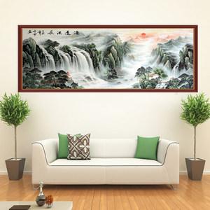 客厅背景墙山水风水装饰画书房墙纸风景中式自粘贴纸沙发墙壁<span class=H>贴画</span>