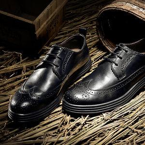 维界布洛克男<span class=H>鞋</span>英伦风真皮雕花商务休闲小皮<span class=H>鞋</span>男韩版潮流<span class=H>鞋</span>子黑色
