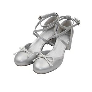essnidel家2018暖暖同款<span class=H>银色</span><span class=H>蝴蝶结</span>圆头中跟芭蕾高跟鞋<span class=H>女鞋</span>单鞋