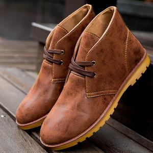 马丁靴男靴pu皮<span class=H>靴子</span>男士沙漠靴英伦风短靴马丁工装鞋<span class=H>男鞋</span>子工装靴