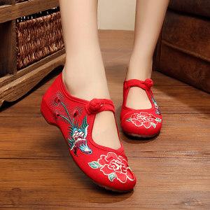 2018新款老北京<span class=H>布鞋</span>舞蹈民族风拼色<span class=H>绑带</span><span class=H>绣花鞋</span> 内增高坡跟女单鞋