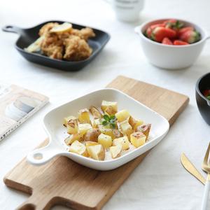 川岛屋 北欧简约黑白陶瓷磨砂色釉煎饼盘烘焙烤盘沙拉碗PZ-102