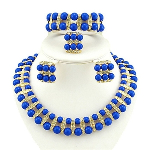 中欧印度珍珠项链民族特色四件套<span class=H>珠宝</span>女韩版时尚饰品新娘婚礼<span class=H>配饰</span>