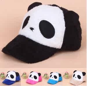 亲子儿童卡通熊猫帽子韩版秋冬男女情侣可爱宝宝毛绒鸭舌棒球帽潮