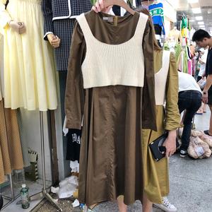 早秋新款<span class=H>女装</span>净色针织马甲+净色圆领宽松减龄连衣裙时尚两件套潮
